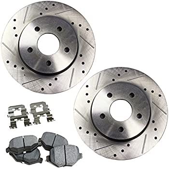 2007-2012 Lincoln MKZ KT062031 Fits: 2006-2012 Ford Fusion Max Brakes Front Performance Brake Kit Premium Slotted Drilled Rotors + Ceramic Pads 2006-2011 Mercury Milan