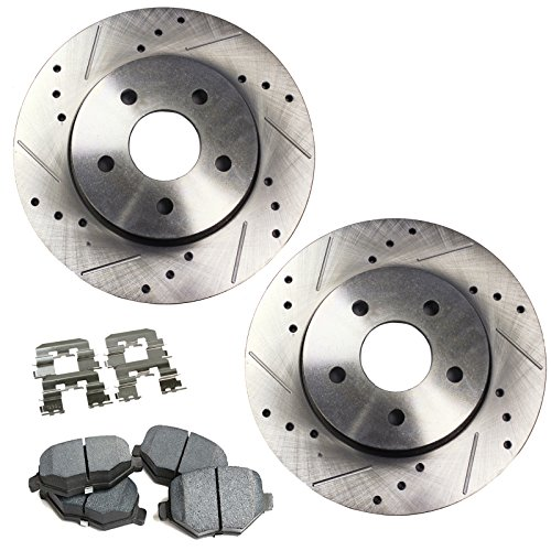 - Detroit Axle - Drilled & Slotted Front Brake Rotors & Brake Pads w/Clips Hardware Kit for 2004-2013 Mazda 3 w/2.3L/2.5L Only - [2006-2010 Mazda 5]