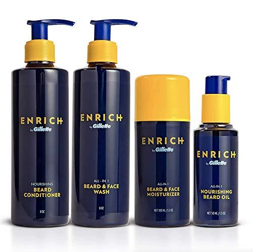 Gillette Enrich Beard & Face Care Starter Kit for Men - Beard Wash, Conditioner, Moisturizer, and Oil