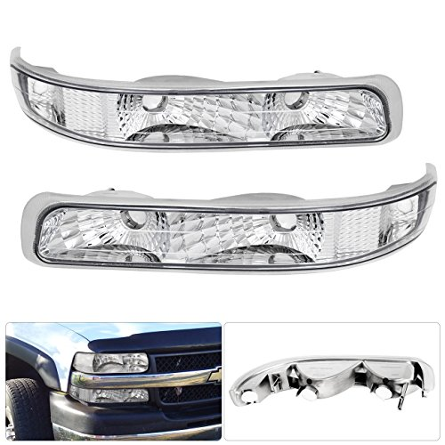 For Chevy Silverado Tahoe Suburban Clear Lens Chrome Housing Bumper Signal Parking Corner Light (Clear Corner Lenses Lights)