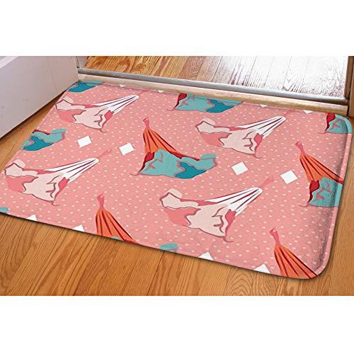 iBathRugs Door Mat Indoor Area Rugs Living Room Carpets Home Decor Rug Bedroom Floor Mats,Stylized Datura Angels Trumpet Flower