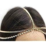 Femnmas Multi-Strand Gold Rhinestone Metal Head Chain For Girls