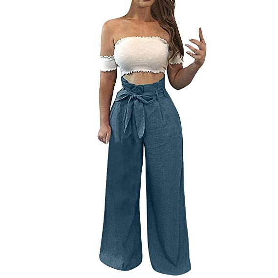 Gusspower Mujer Pantalones De Pierna Ancha Algodón Lino
