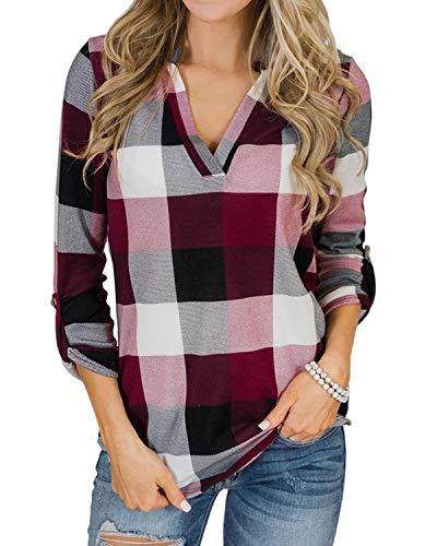 YOINS Vrouwen Lange Mouw V-hals Shirts Plaid Casual Tops Check Klassieke Blouses voor Dames