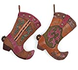 Western Cowboy Boot Christmas Stocking Assorted Set of 2 - Xmas Holiday Hanging Fireplace Decoration