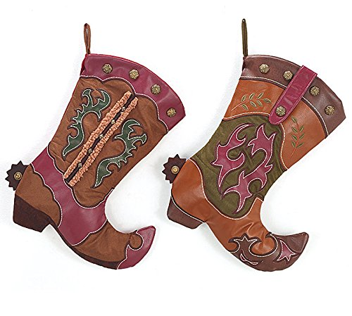 Western Cowboy Boot Christmas Stocking Assorted Set of 2 - Xmas Holiday Hanging Fireplace Decoration - Western Christmas Stockings