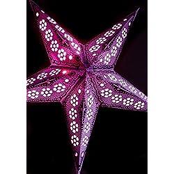"Quasimoon PaperLanternStore.com 24"" Lavender Petal Paper Star Lantern, Hanging Decoration"