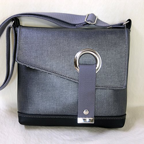 Metallic Messenger - Stella Crossbody Messenger Bag, Faux Leather Messenger in Metallic Denim and Dark Gray