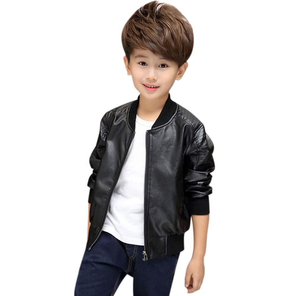 Leoie Children Boys Zipper PU Jacket Fashionable Winter Warm Fleeced Coat Top Kids