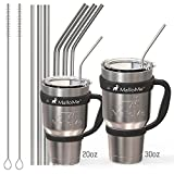 [6 WIDTHS] Stainless Steel Drinking Straws For 30 oz and 20 oz Tumbler - Fits Yeti, RTIC, Ozark Trail Tumblers, Set of 6 (6mm, 8mm, 10mm wide) with 2 Free Cleaning Brushes