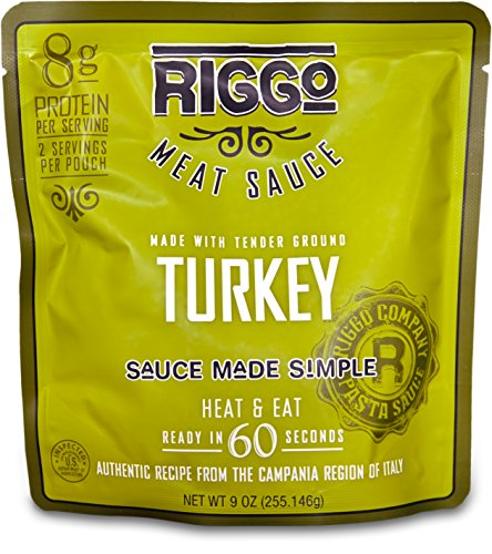 RIGGO Keto Pasta Sauce with Ground Turkey Meat - 8 Pouches (2 Servings Ground Turkey)