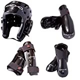 Macho Dyna 7 piece sparring gear set with shin guards blue child large