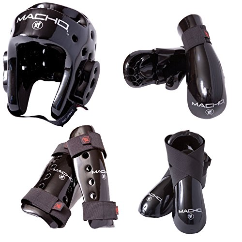 Macho Dyna 7 piece sparring gear set with shin guards black adult large ()
