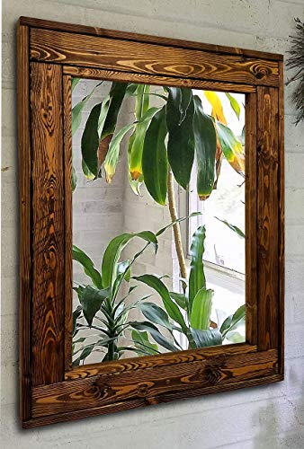 Herringbone Reclaimed Wood Framed Mirror, Available in 4 Sizes and 20 Stain colors: Shown in Dark Walnut - Mirror Decorative Wall Art - Bathroom Vanity Mirror - Rustic Mirror