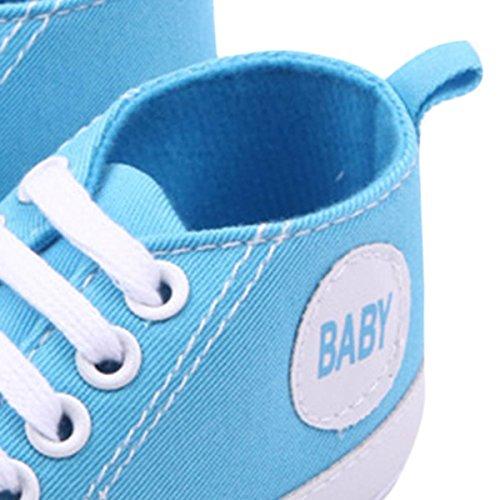Happy Cherry 1Par Zapatos Bebés de Lona Zapatillas Primeros Pasos de Niños Niñas Antideslizante Suave Azul