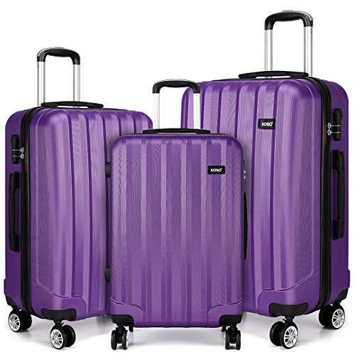 Kono Set of 3 Pcs Fashion Luggage Hard Shell Suitcase Light Weight ABS with 4 Spinner Wheels (Purple, 3 Pcs Set)