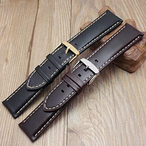 Véritable Main en Cuir watchbands Hommes Femmes Bracelet Montre Bracelet Bande Wiht Argent Poli Boucle Black Silver Buckle