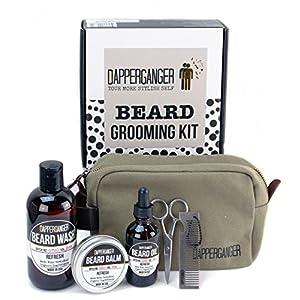 Beard Kit - Organic Mens Grooming Kit- Premium Beard Care Kit & Beard Grooming Kit Best Gift for Men - Great Smelling Gift Set- Eliminates Dandruff & Split Ends - Make Your Beard Look Boss