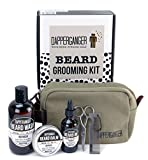 Beard Kit Best For Mens Grooming & Beard Care Growth and Maintenance. Made with Certified Organic. Great Smelling Gift Pack Set Includes Beard Oil, Balm, Wash, Comb and Toiletry Bag By DapperGanger