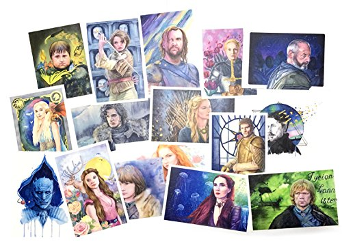 Game of Thrones Watercolor Hand Painted Postcards set of 16, 5.9'' x 3.9'' by Luke's Gift