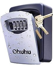 Ohuhu Sleutelkluis met 4-cijferige cijfercode, aan de muur bevestigde sleutelsafe voor huis, garage, school