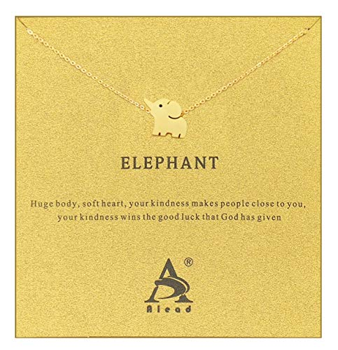 - ALEAD Women Pineapple Snow Mountain Friendship Elephant Cactus Diamond Snowflake Butterfly Life Tree Luck Stainless Steel Pendant Gift Clavicle Necklace with Message Gift Card (Elephant-Gold)