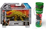 Minmi Dinosaur Jurassic World Action Figure + Best Brands 12 Assorted Dinosaurs Figurines in Tube Bundle (Total 2 Items)
