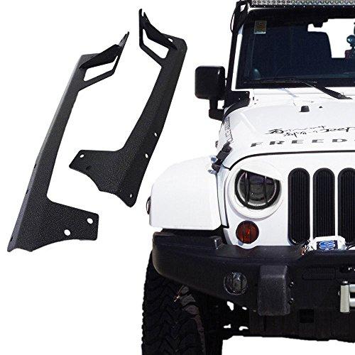 Xprite 50 Inch Upper Windshield Steel Metal Mounting Brackets for LED Light Bars 2007-2018 Jeep Wrangler JK Sport Sahara Rubicon - 1 Pair (Left & Right)