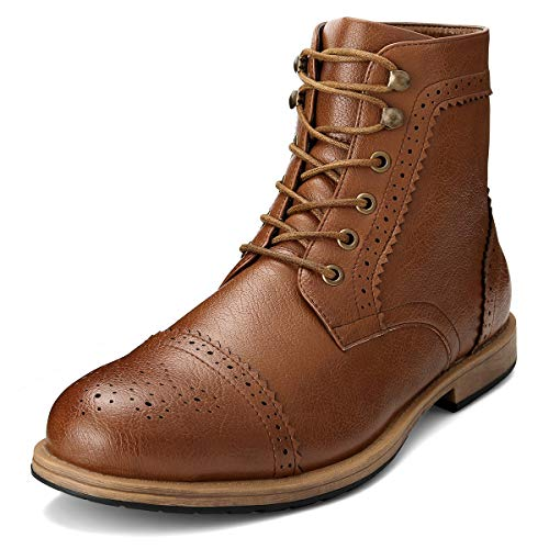 Men's Brogue Boots Ankle Oxford - Dress Boot Lace Up Zip Cap Toe Work Motorcycle Riding Hiking Botas Invierno Hombre(Brown-13 (M) US)
