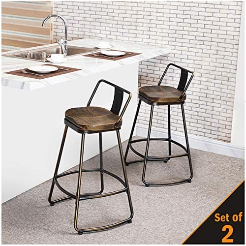 Alunaune Swivel Metal Bar Stools Set of 2 Low Back Counter Height Bar Stools Kitchen Counter Stool 30 inch, Distressed Bronze