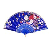 MagiDeal Spanish Floral Oriental Dance Party Wedding Folding Hand Fan Lace - Royal Blue