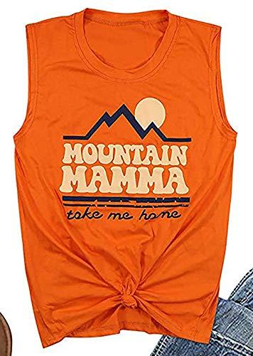 NENDFY Mountain Mama Take Me Home Tank Tops Women's Sunshine Graphic Muscle Vest T Shirt Casual Sleeveless Tops (Medium, Orange)