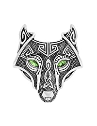 W WOOGGE Viking Norse Wolf Head Bird Skull Brooch Pin Gothic Irish Viking Scarf Lapel Pin