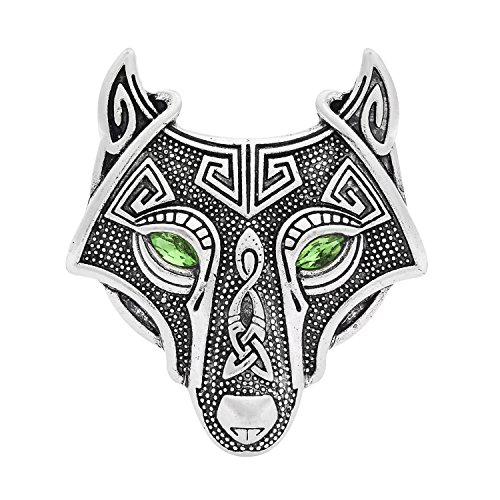 Brooch Pin Scarf Lapel - W WOOGGE Viking Norse Wolf Head Bird Skull Brooch Pin Gothic Pendant Irish Viking Penannular Clothes Fasteners Scarf Lapel Pin (Wolf Head(Green Eye)) ...