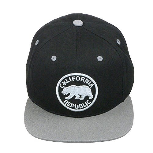 California Republic Bear Logo Flat Brim Adjustable Snapback Hat Cap - Black/Grey (Cap Bear Fashion Logo)