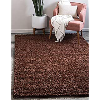 Unique Loom Solo Solid Shag Collection Modern Plush Chocolate Brown Area Rug (2' 2 x 3' 0)