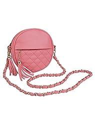 Women Round Plaid Tassel Detachable Chain Strap Shoulder Bag(Watermelon red)