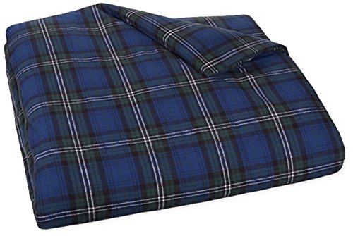 Pinzon 160 Gram Plaid Velvet Flannel Duvet Cover - King, Blackwatch (King Cal Flannel Sheets)