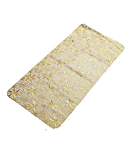 Kuber Industries PVC Table Runner - Gold (Design May Vary)
