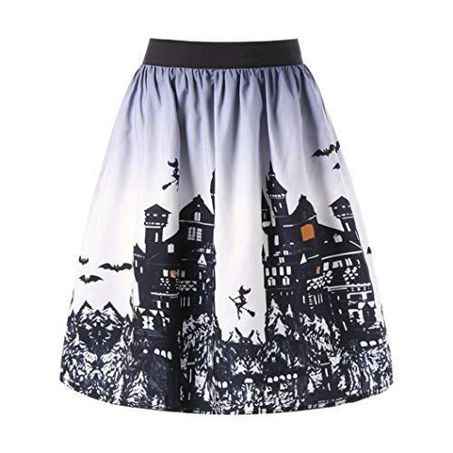 Clearance Sale! Wintialy Women's Sexy Halloween Day Ombre Castle Printed Swing Performance A-Line Skirt -