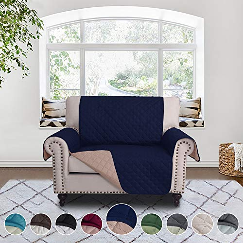 RHF Reversible Chair and a Half Cover&Chair and a Half Covers,Slipcovers for Chair and a Half, Chair and a Half Covers,Pet Cover for Chair and a Half,Machine Washable (Loveseat Small: Navy/Sand)