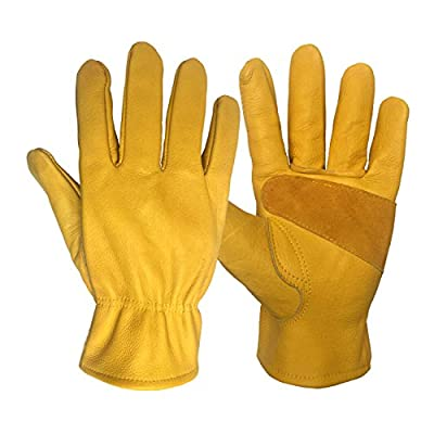Leather Work Gloves for Gardening/Cutting/Construction/Motorcycle/Farm, Men & Women, with Elastic Wrist