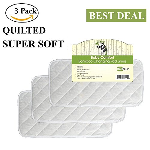 """Quality Bamboo Changing Pad Liners, Large 26"""" x 12.5"""", Waterproof, Hypoallergenic, Antibacterial, Reusable, Quilted, Machine Washable & Dryer Friendly, 3 Pack (Changing Pad Terry Baby)"""