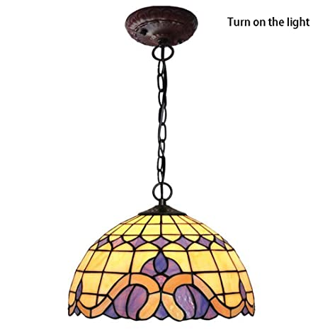 Tiffany Style Pendant Light 12 Inch Mediterranean Stained