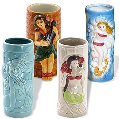 4 Piece Tiki Girls Luau Mugs Set