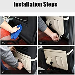 A.B Crew 2PCS Multifunctional Auto Car Kick Mats Seat Back Protectors With Storage Organizer(Beige)