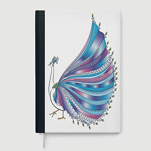Composition Book/Notebook,Animal,Business Notepad Daolin Paper,Exotic Abstract Peacock Figure with Stylized Feathers Graphic Eastern Artwork,96 Ruled Sheets,A5/8.24x5.73 - Feathers Notepad Peacock