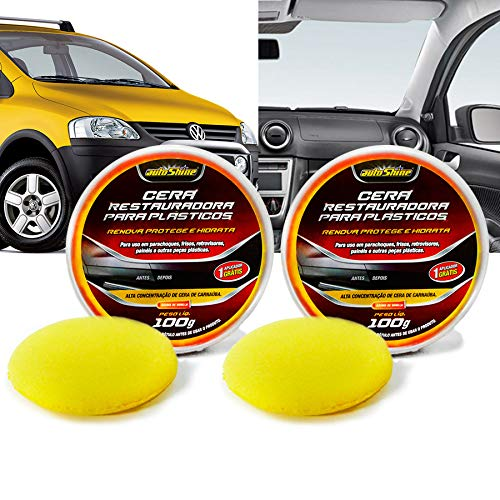 Kit 2 Cera Automotiva Restauradora Para Plasticos 100G Autoshine