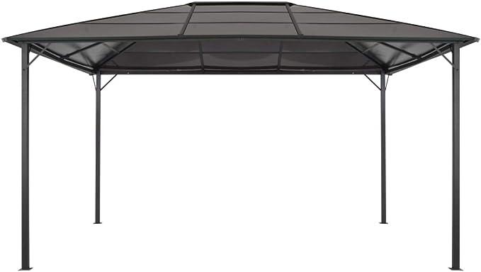 vidaXL Cenador Tejado 4x3x2,6 m Aluminio Negro Marquesina Carpa ...