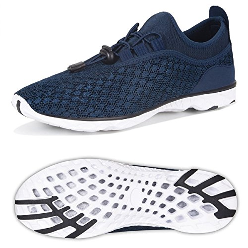 Water Shoes for Men Quick Drying Aqua Shoes Beach Pool Shoes (Dark Blue-Buckle, 43)